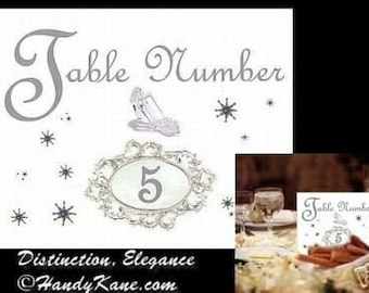 qty 20 Wedding Cinderella Place Table Number ring cards favors