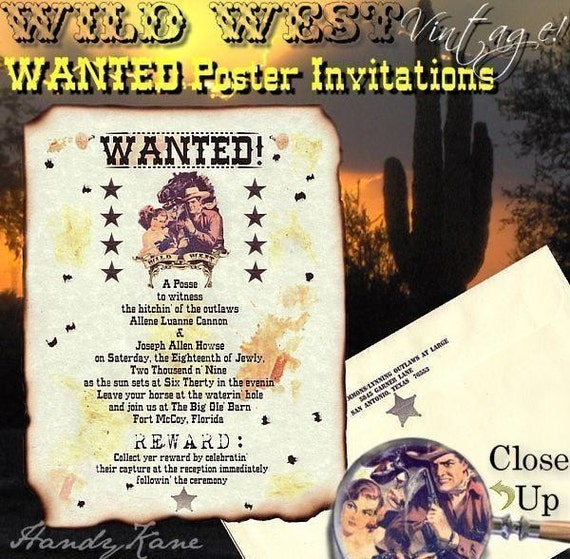 Sale 28 Off Qty 50 Western Wanted Poster Wedding Invites