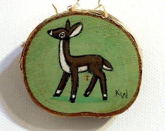 Doe Tiny Painting - Original Wall Art Acrylic on Birch Wood Chip Miniature Painting by Karen Watkins - Deer Artwork