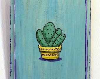 Cactus Painting - Original Wall Art Acrylic Small Painting on Wood by Karen Watkins - Cactus in Pot Miniature Wall Art