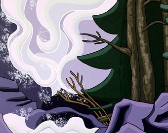 Large Landscape Painting - 24x36 Acrylic Original Wall Art on Canvas - Waterfall Abstract Art by Karen Watkins - Flux