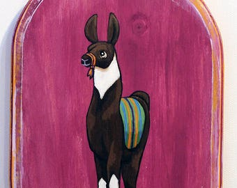 Llama Art - Small Original Wall Art Acrylic Painting on Wood by Karen Watkins - Animal Miniature Artwork - Llama Painting