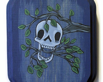 Skull in a Tree Painting - Original Wall Art Acrylic Miniature Painting on Wood 5x7 Inches by Karen Watkins - Spooky Art