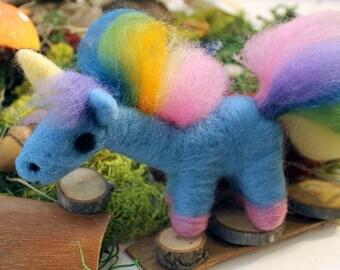 Needle Felted Rainbow Unicorn Soft Sculpture Figurine - Felt Unicorn Figure Art - Ready to Ship