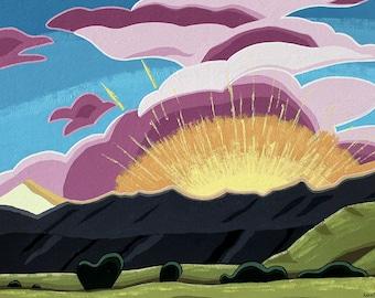 Landscape Painting - 20x16 Acrylic Original Wall Art on Canvas - Mountain Sunset Abstract Colorado Art by Karen Watkins - Aglow