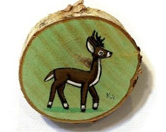 Buck Tiny Painting - Original Wall Art Acrylic on Birch Wood Chip Miniature Painting by Karen Watkins - Deer Artwork