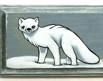 Arctic Fox Art - Small Original Wall Art Acrylic Painting on Wood by Karen Watkins - Fox Miniature Artwork - Animal Art