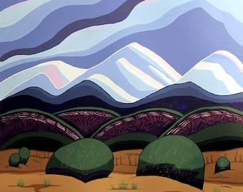 Large Landscape Painting 30x30 Acrylic Original Wall Art on Canvas - Mountain High Desert Abstract Colorado Art by Karen Watkins - Southwest