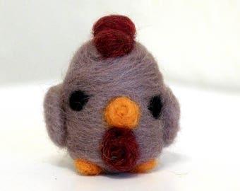 Needle Felted Chicken Hen Figurine - Ready to Ship - Cute Felt Gray Chicken Miniature Art - Felted Bird - Farm Animal Figure