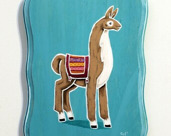 Llama Art - Small Original Wall Art Acrylic Painting on Wood by Karen Watkins - Animal Miniature Artwork