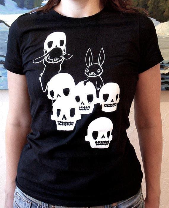 Skulls Womens Black Shirt