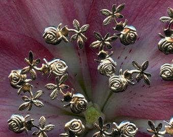 French VINTAGE Sequins Tulip Flowers Jet Black Charms Paillettes Trim sew on lot