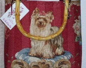 Yorkie Handbag Tote Yorkshire Terrier Linen Custom HandMade bag Diva Dog Bamboo Handles or Shoulder STraps Choice