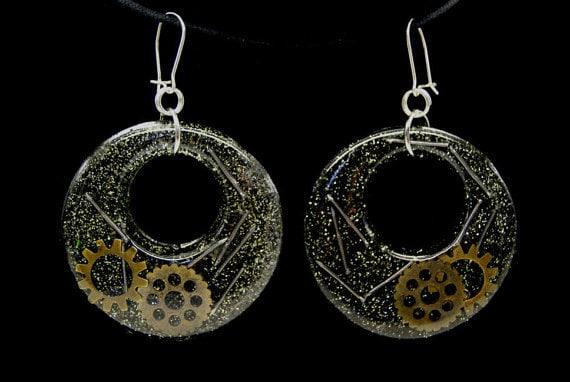 Resin Mold Earring Hoops Donut Diamond Pendant Jewelry Earrings Reusable Plastic