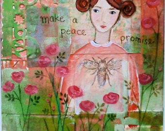 Make A Peace Promise - Print of Original Collage Mixed Media Painting
