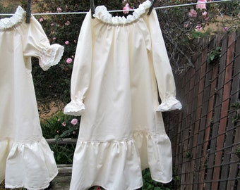 Toddler 2T-3T Little House on the Prairie Nightgown Cotton Muslin with Eyelet  Lace 57c49a776