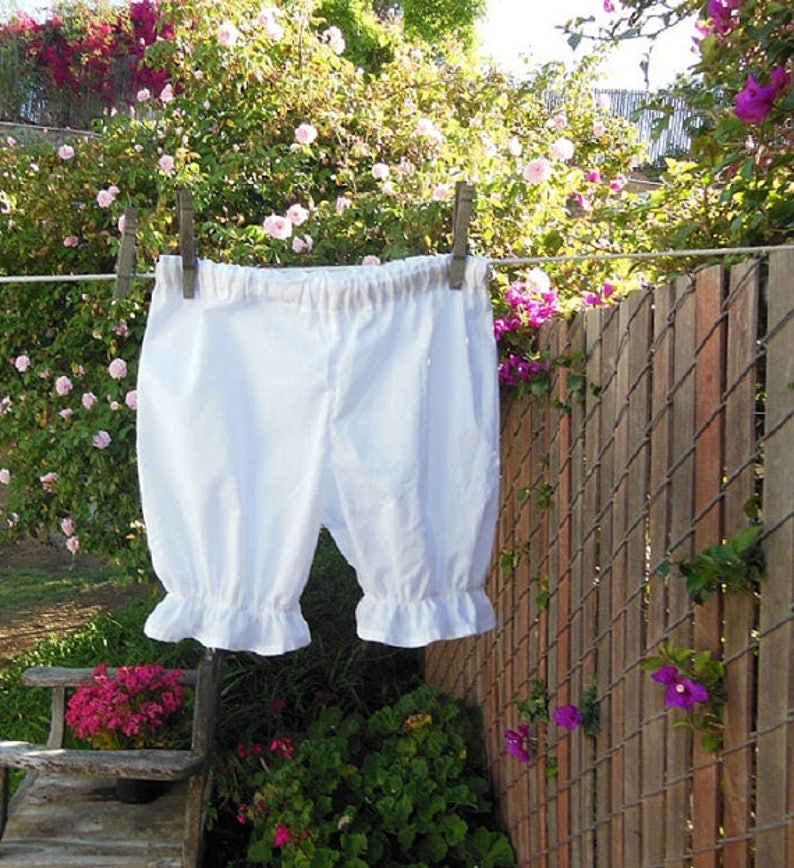 Girls Small Short White Cotton Bloomers No Lace Ready now