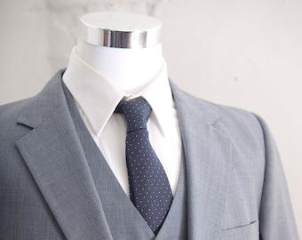 Men's Suit / Blue  Gray Vintage Suit,  Blazer, Vest, Trousers / Three Piece Wool Suit Large Size 42