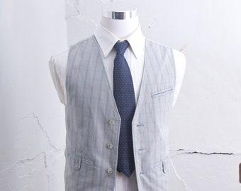 Men's Small Suit Vest / Vintage Blue Waistcoat / Size 36