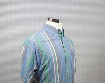 Men's Shirt / Vintage Casual Striped Button-Down Shirt / Size Large / Blue