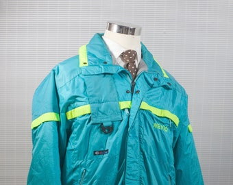 Men's Coat / Teal and Fluorescent Yellow Vintage Winter Ski Jacket / Size Large 40 Nevica