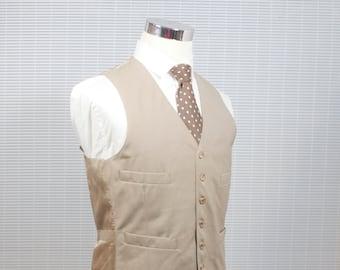 Men's Khaki Vest/ Men's Trouser Pants / Vintage Tan Menswear Set / Size Med/Large / Size 41 Vest