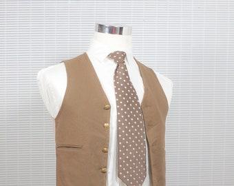 Men's Suit Vest / Vintage Brown Waistcoat / Size 34 small/XS /  #M004