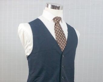 Men's Suit Vest / XL / Vintage Navy Waistcoat / Screen Printed Tree / Size 46 #M001