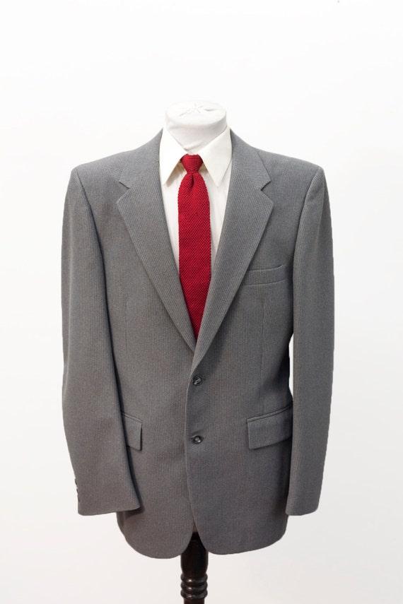 Men's Blazer / Vintage Grey Pinstripe Jacket / Siz