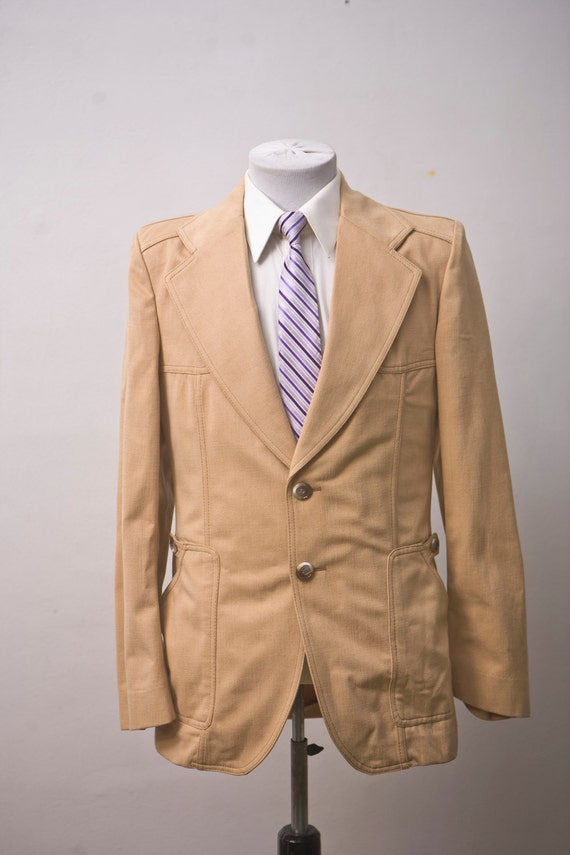 Men's Suit / Vintage 1970's Blazer and Trousers /