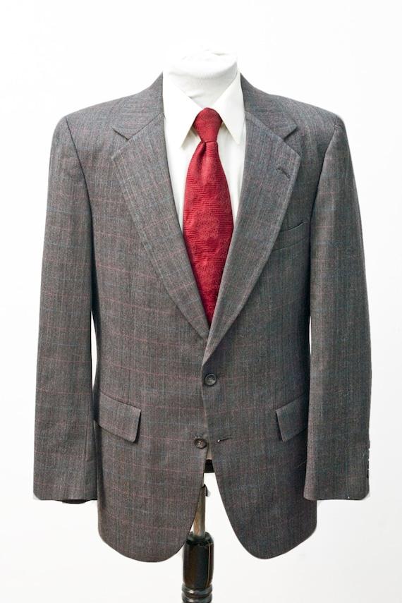Men's Two-Piece Suit / Grey Windowpane Plaid Jacke