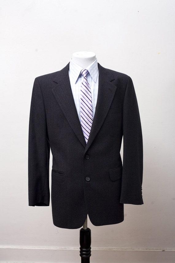 Men's Blazer / Vintage Charcoal Grey Pinstripe Jac