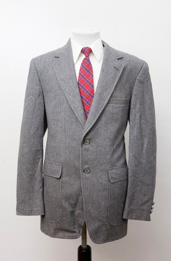 Men's Blazer / Vintage Grey Flannel Jacket / Size