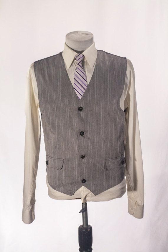 Herren Anzug Weste Vintage grau Nadelstreifen Weste Größe 39 Medium #2010