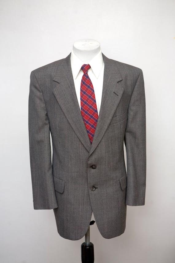 Men's Suit / Vintage Jacket and Trousers / Grey Pl
