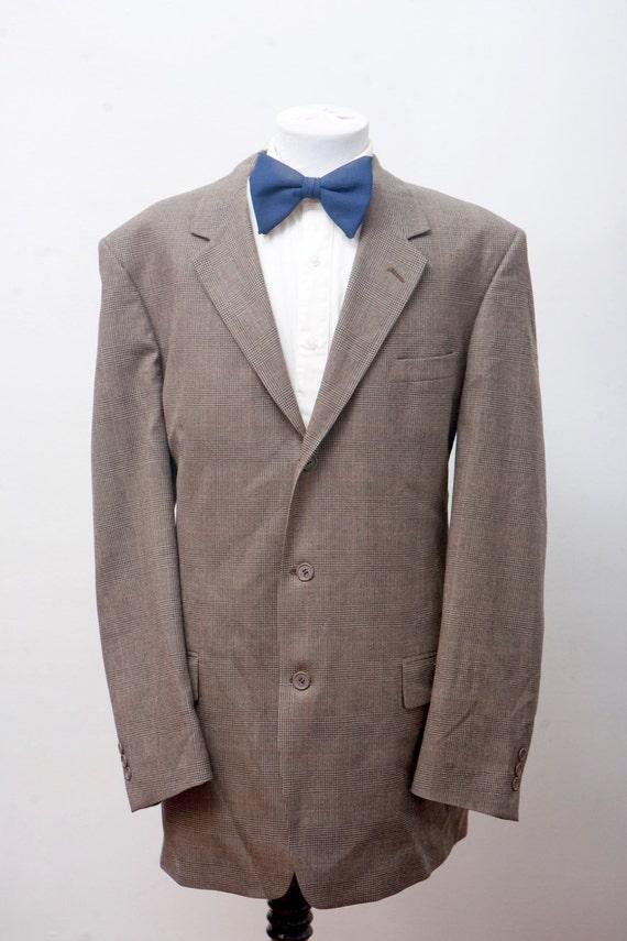 Men's Suit / Vintage Plaid Blazer / Brown Jacket a
