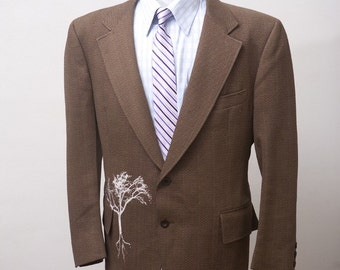 Men's Suit / Vintage Blazer Upcycled with Screen Printed Tree / Size 44S