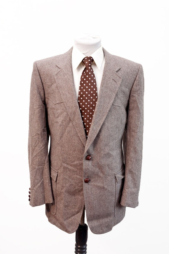 Men's Suit / Vintage Brown Blazer and Trousers / W