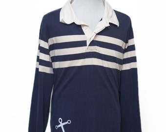 Men's Shirt / Izod Rugby Shirt Upcycled with Screen Printed Anchor / Size XL