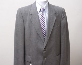 Men's Blazer / Vintage Jacket Upcycled with Screen Printed Anchor / Size 42