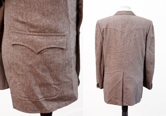 Men's Suit / Vintage Brown Blazer and Trousers / … - image 2