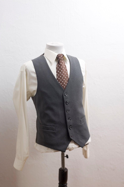 herren anzug weste vintage weste grau gr e 42 mittel. Black Bedroom Furniture Sets. Home Design Ideas