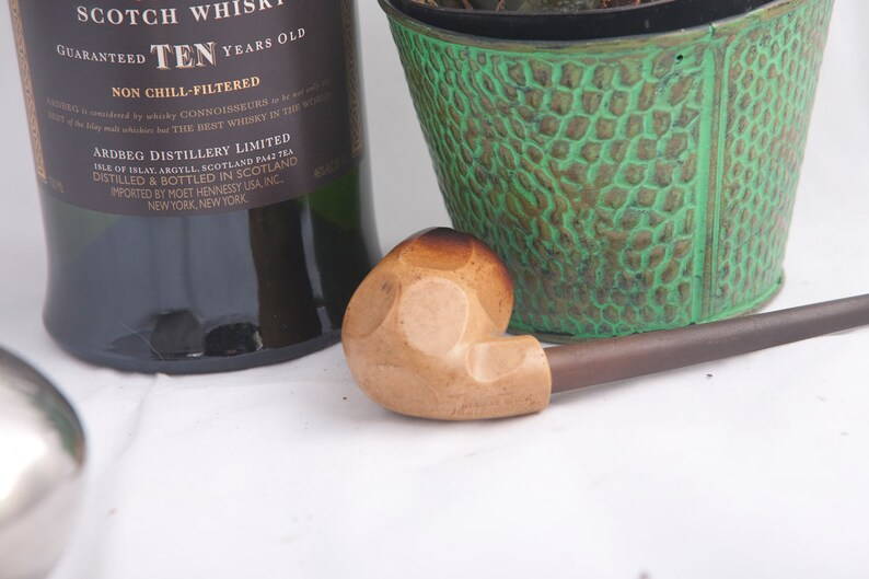 Estate Carved Meerschaum Pipe  Vintage Geometric Tobacco pipe