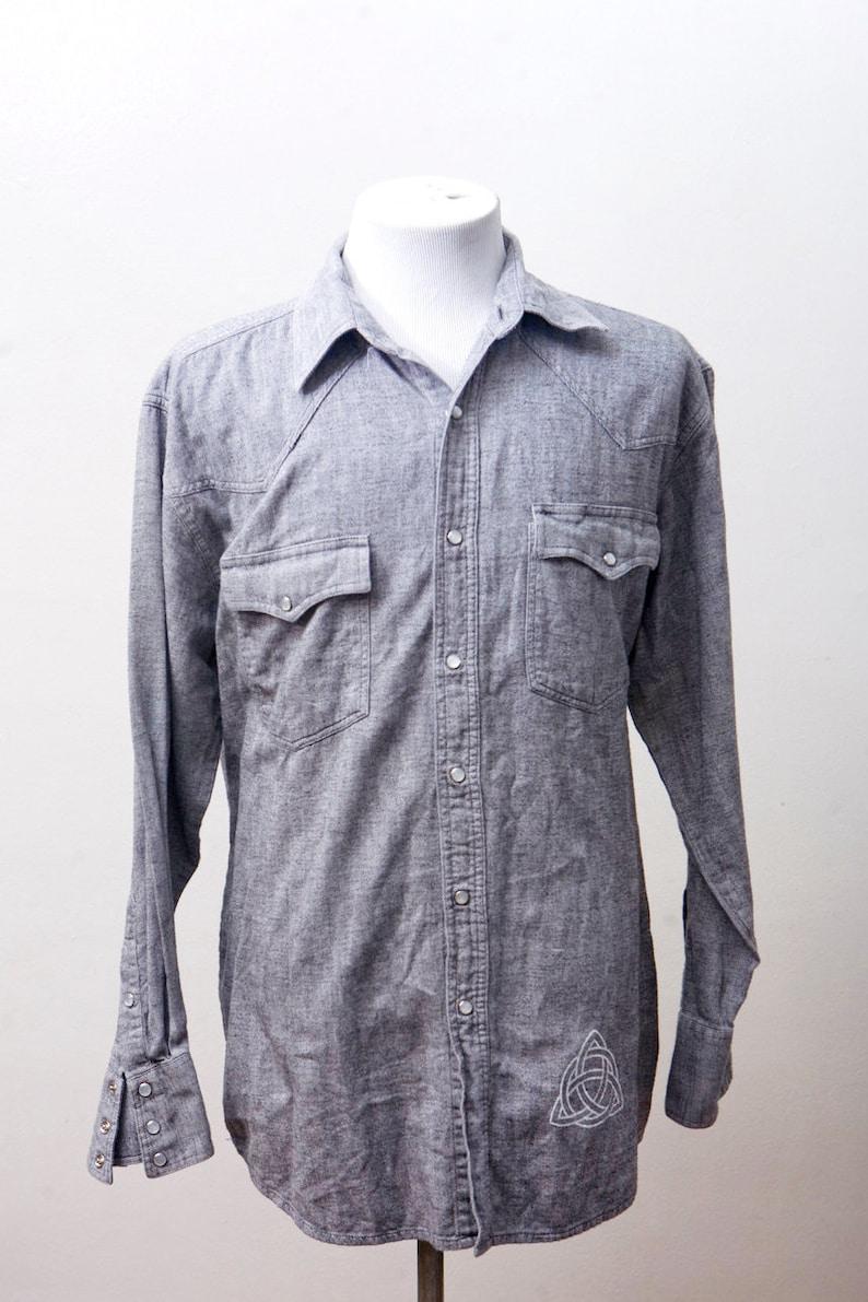 64e1bd15dd Men s Shirt   Vintage Chambray Western Shirt   Upcycled