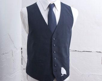 Men's 54 Suit Vest / Medium / Vintage Navy Pinstripe Waistcoat / Screen Printed Sparrow / Size xxxxl