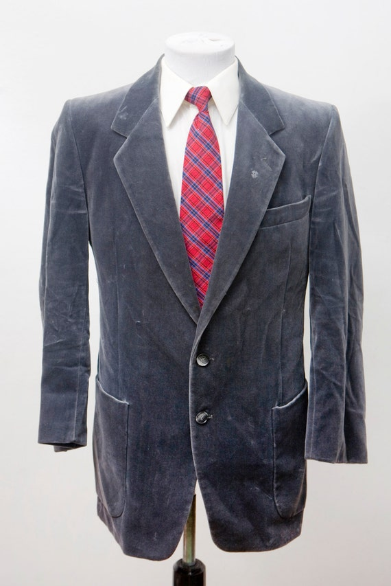 Men's Blazer / Vintage Grey Velvet Jacket by Ducat