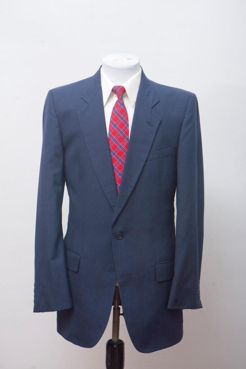 07577e35c141f Garnitur męski/Vintage Navy Blazer/pinstripe kurtka/Pierre | Etsy