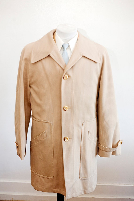 Men's Size 42 Beige Vintage Overcoat with Removabl