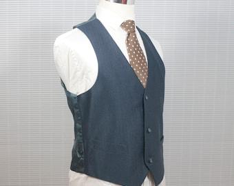 Men's medium Vest / Vintage Navy Blue Pinstripe Waistcoat / Size 40