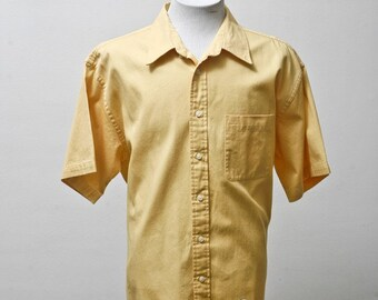 Men's Shirt / Short Sleeve Yellow Oxford Upcycled with Screen Printed Sparrow / Size XL